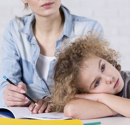 Child with parent suffering from side effects from ADHD or ADD treatment
