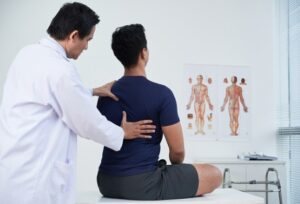 Patient for Chiropractic in Hinsdale, IL getting an exam